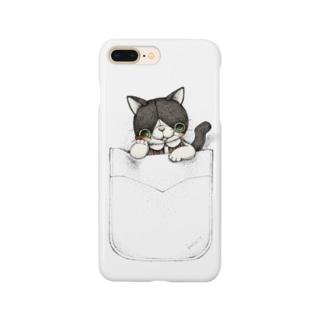 ぽっけねこ・ハチワレ Smartphone cases