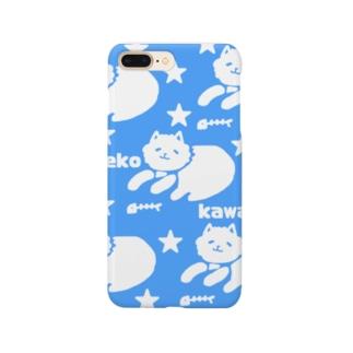 neko kawaii 青 Smartphone cases