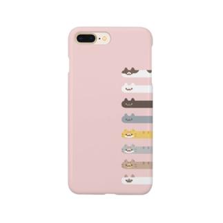 Long Cat その4 全員集合(ピンク背景つき) Smartphone cases
