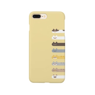Long Cat その4 全員集合(イエロー背景つき) Smartphone cases