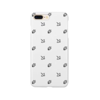 #かめつる柄 _ 白 Smartphone cases