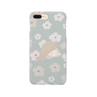 レトロな紅茶ちゃん フラワー/ミントグリーン Smartphone cases