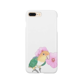 お花とシロハラインコちゃん【まめるりはことり】 Smartphone cases