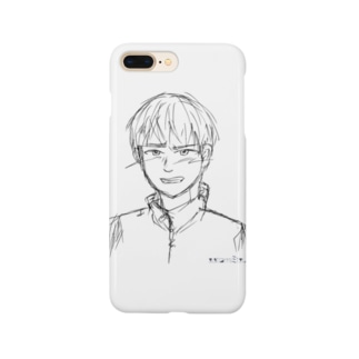 照れる少年 ラフ Smartphone cases
