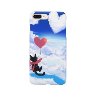 黒猫とハートの雲 Smartphone Case