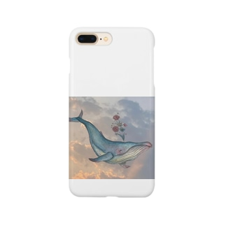 晴れた空から彩を晴らすクジラ Smartphone cases