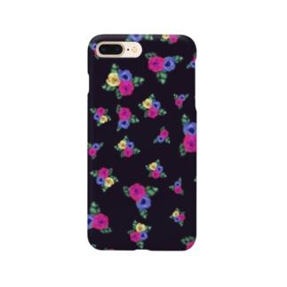 黒地 三色花柄 Smartphone cases