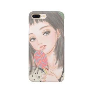 pocopiの雑貨屋のキャンディーと女の子 Smartphone cases