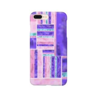 パープル/ピンク 凸凹ガラス風 Smartphone cases