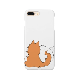 冒涜的な猫グア(背中色付き) Smartphone cases