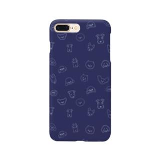 ワンコがいっぱいネイビー(小型犬) Smartphone cases