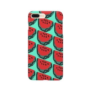 スイカ(水色) Smartphone cases