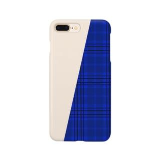 チェック×無地 切り返し(サファイアブルー/ミルクティー) Smartphone cases