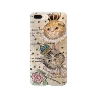 ヤマネコ。の部屋のグレ&ゴル 王族猫 Smartphone cases
