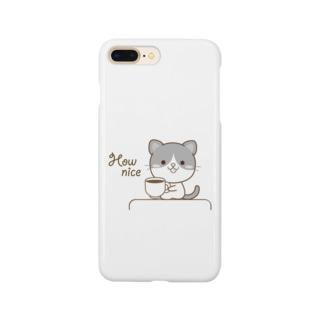 黒白猫のシンプルモノトーン Smartphone cases