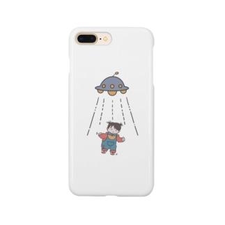 UFOと女の子(色付) Smartphone cases