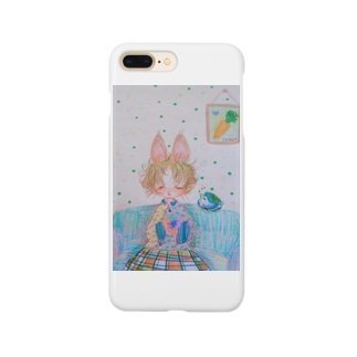 まだ眠たいウサギと青い鳥 Smartphone cases