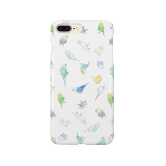いっぱいセキセイインコちゃん【まめるりはことり】 Smartphone cases