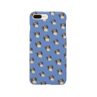 ミルくんがいっぱい ブルー Smartphone cases