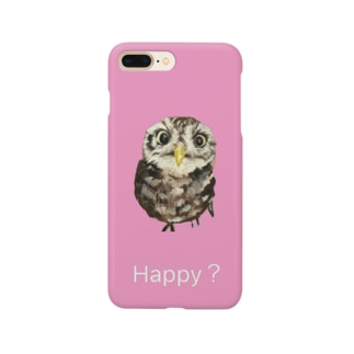 Happy?ふくろう(Pink) Smartphone cases