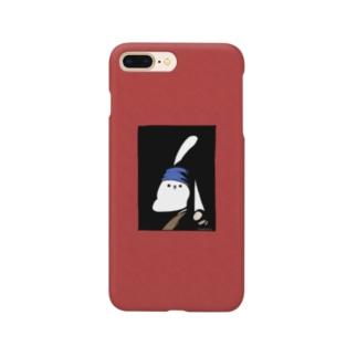 真珠の耳飾りのうさぎ 赤 Smartphone cases