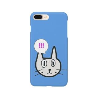 びっくりにゃんこ(Blue) Smartphone cases
