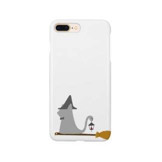 とんがり帽子猫(箒ランプ) Smartphone cases