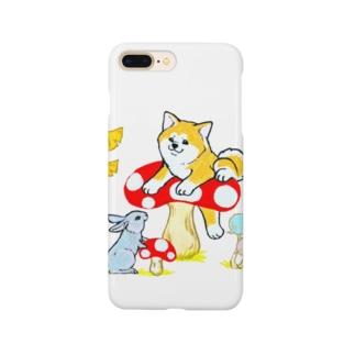 秋!きのこ狩り🍄秋田犬とウサギは友達❤️ Smartphone cases