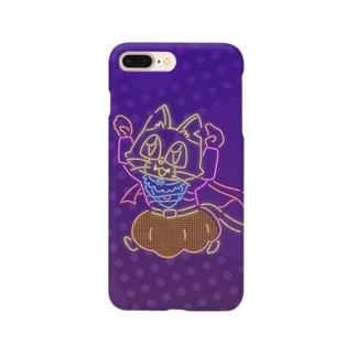 ネオンキャットC(背景あり) Smartphone cases