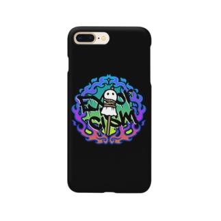 火あぶりおばけ(ブルー) Smartphone cases