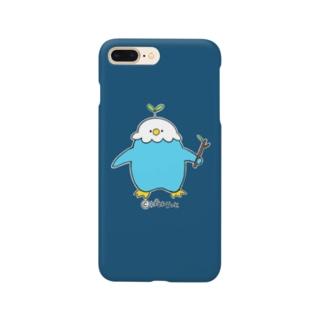 枝持ち青ぱはろちゃんのスマホケース Smartphone cases