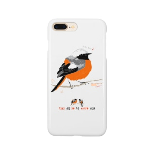 MARU ジョビ丸(大)まるい小鳥 まる過ぎる ジョウビタキ Smartphone cases
