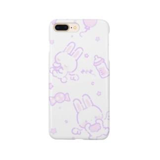 うさちゃんてんし(パープル) Smartphone cases