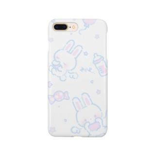 うさちゃんてんし(ブルー) Smartphone cases