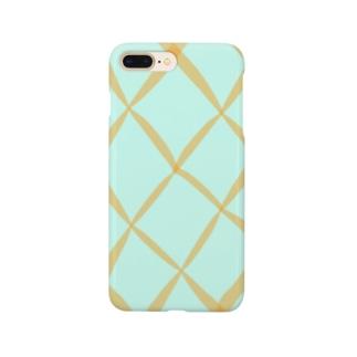 オレンジのチェック Smartphone cases
