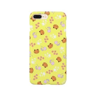 ねこカボチャ柄 黄色 Smartphone cases