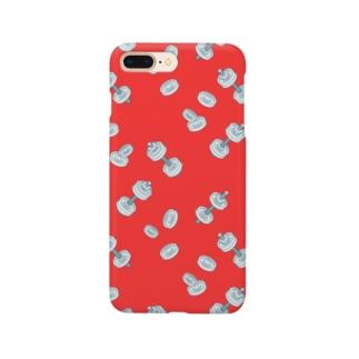 ダンベル①_赤 Smartphone cases