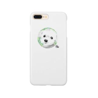 ワンコのエム絵画風スマホケース Smartphone cases