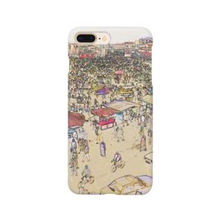CG絵画:マラケシュのジャマ・エル・フナ市場 CG art: Jemaa el-Fnaa of Marrakesh Smartphone cases