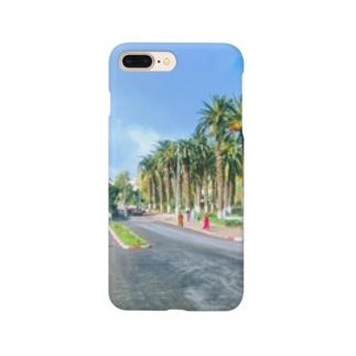 モロッコ:椰子の並木道 Morocco: Palm Tree-Lined Street Smartphone cases