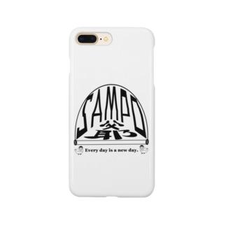 さんぽ爺鳥 黒文字 Smartphone cases