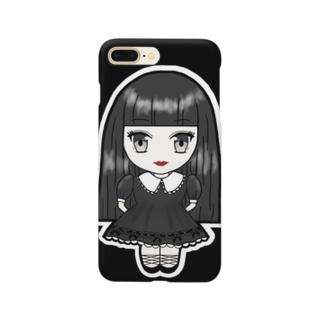 3頭身かえちゃん(黒ドアップver.) Smartphone cases