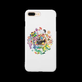 ねことりむし★CAT BIRD INSECTのカラフル色相環グラデーションと白黒カラス Smartphone cases