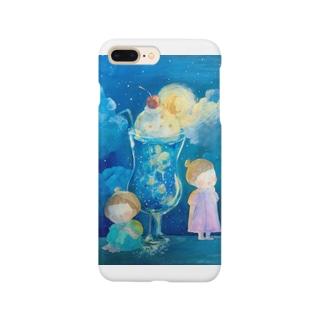 夜空色のクリームソーダ  お月さまを添えて Smartphone cases