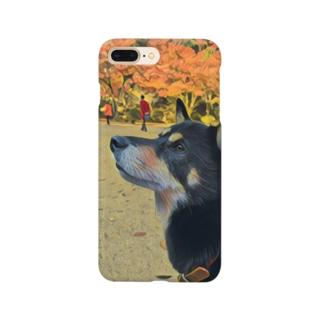 紅葉と黒柴 Smartphone cases