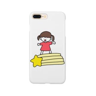 さかもとこのみのグッズやさんの流れ星と女の子 Smartphone cases