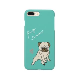 パグ座りのパグさんスマホケース:爽やか系 Smartphone cases