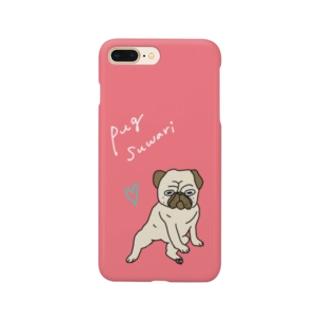 パグ座りのパグさんスマホケース:ピンク系 Smartphone cases