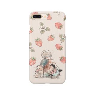 かわいい苺と男の子とテディベアのイラストスマホカバー Smartphone cases