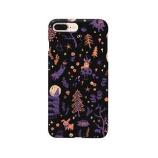 夜の森 (ブラック) Smartphone cases